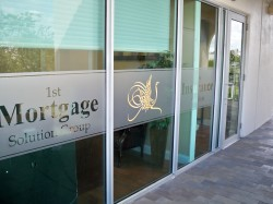 Etched vinyl window graphics Palm Beach County FL