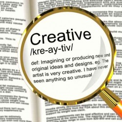 Creative Definition Magnifier Showing Original Ideas Or Artistic