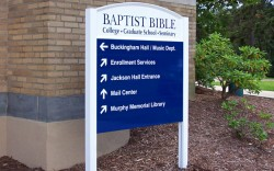 Wayfinding sign for a church