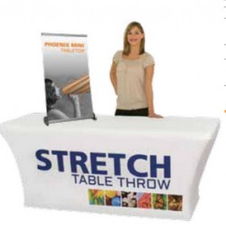 Custom imprinted trade show table throws