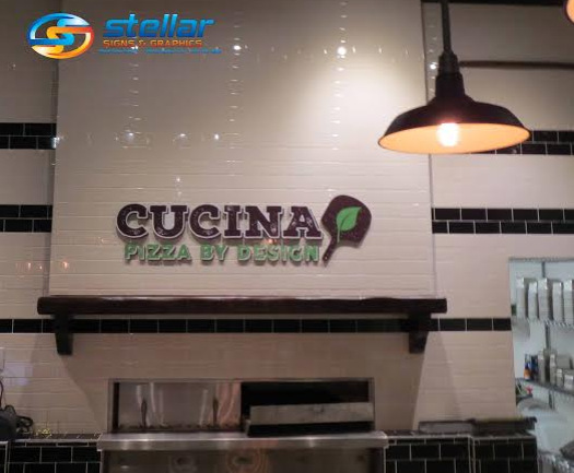 Wall sign and mission statement vinyl graphics for cucina