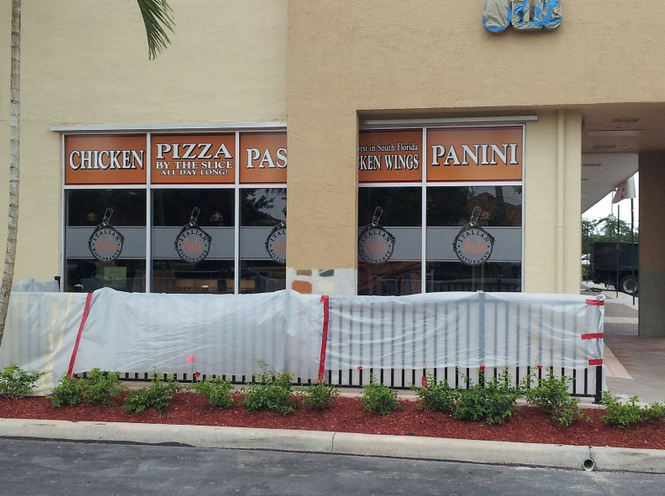 Etched Vinyl Window Graphics For Restaurants In Palm Beach